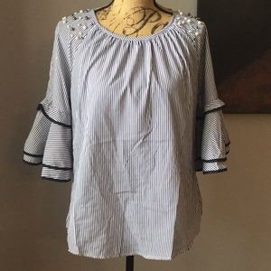 Tops - Navy and white blouse